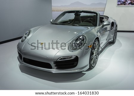 LOS ANGELES, CA. NOVEMBER 20: Porsche 911 Turbo on display in  LA Auto Show at the L.A. Convention Center on November 20, 2013 in Los Angeles, CA