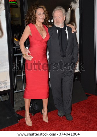 "LOS ANGELES, CA - NOVEMBER 10, 2015: Producers Ridley Scott & Giannina Facio at the premiere of their movie ""Concussion"", part of the AFI FEST 2015, at the TCL Chinese Theatre, Hollywood."