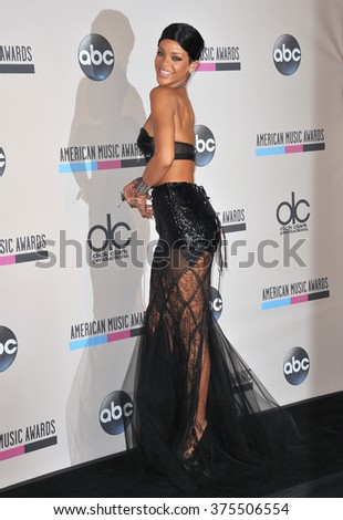 LOS ANGELES, CA - NOVEMBER 24, 2013: Rihanna in the pressroom at the 2013 American Music Awards at the Nokia Theatre, LA Live.