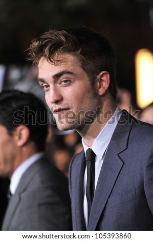 "LOS ANGELES, CA - NOVEMBER 14, 2011: Robert Pattinson at the world premiere of ""The Twilight Saga: Breaking Dawn - Part 1"" at the Nokia Theatre, L.A. Live. November 14, 2011  Los Angeles, CA - stock photo"