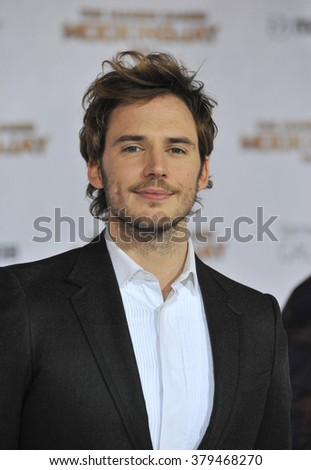 "LOS ANGELES, CA - NOVEMBER 17, 2014: Sam Claflin at the Los Angeles premiere of his movie ""The Hunger Games: Mockingjay Part One"" at the Nokia Theatre LA Live. - stock photo"