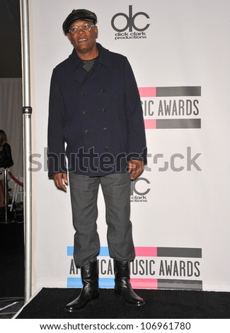 LOS ANGELES, CA - NOVEMBER 21, 2010: Samuel L. Jackson at the 2010 American Music Awards at the Nokia Theatre L.A. Live. - stock photo