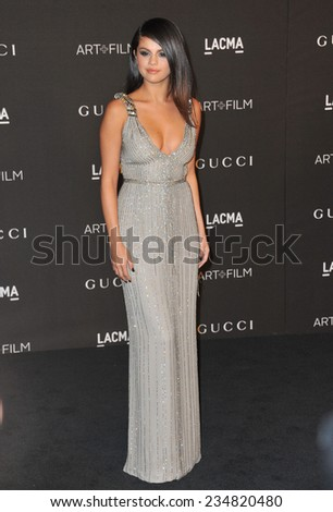 LOS ANGELES, CA - NOVEMBER 1, 2014: Selena Gomez at the 2014 LACMA Art+Film Gala at the Los Angeles County Museum of Art.  - stock photo