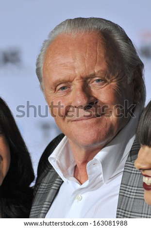 "LOS ANGELES, CA - NOVEMBER 4, 2013: Sir Anthony Hopkins at the US premiere of his movie ""Thor: The Dark World"" at the El Capitan Theatre, Hollywood."