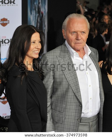 "LOS ANGELES, CA - NOVEMBER 4, 2013: Sir Anthony Hopkins & wife Stella Arroyave at the US premiere of ""Thor: The Dark World"" at the El Capitan Theatre, Hollywood. Picture: Paul Smith / Featureflash - stock photo"