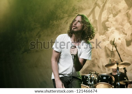 LOS ANGELES, CA - NOVEMBER 27: Soundgarden sells out the Henry Fonda Theatre on November 27, 2012 in Los Angeles, California. - stock photo