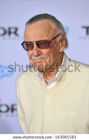 "LOS ANGELES, CA - NOVEMBER 4, 2013: Stan Lee at the US premiere of his movie ""Thor: The Dark World"" at the El Capitan Theatre, Hollywood."