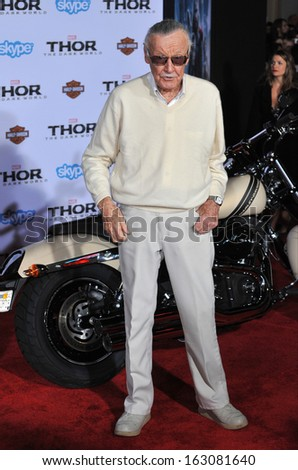 """LOS ANGELES, CA - NOVEMBER 4, 2013: Stan Lee at the US premiere of his movie """"Thor: The Dark World"""" at the El Capitan Theatre, Hollywood.  - stock photo"""