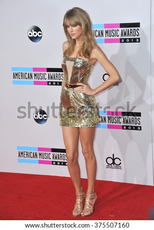 LOS ANGELES, CA - NOVEMBER 24, 2013: Taylor Swift at the 2013 American Music Awards at the Nokia Theatre, LA Live.  - stock photo
