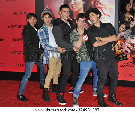 "LOS ANGELES, CA - NOVEMBER 18, 2013: The Janoskians at the US premiere of ""The Hunger Games: Catching Fire"" at the Nokia Theatre LA Live. Picture: Paul Smith / Featureflash"