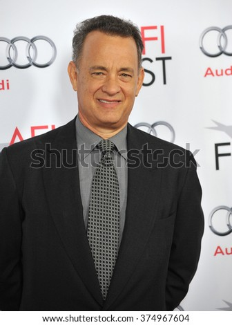 """LOS ANGELES, CA - NOVEMBER 7, 2013: Tom Hanks at the premiere of his movie """"Saving Mr Banks"""" at the TCL Chinese Theatre, Hollywood. Picture: Paul Smith / Featureflash - stock photo"""