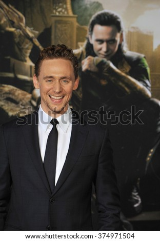 "LOS ANGELES, CA - NOVEMBER 4, 2013: Tom Hiddleston at the US premiere of his movie ""Thor: The Dark World"" at the El Capitan Theatre, Hollywood. Picture: Paul Smith / Featureflash - stock photo"