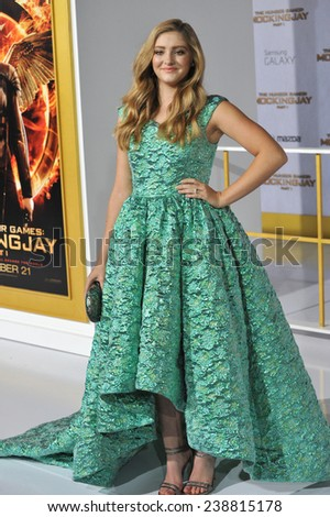 "LOS ANGELES, CA - NOVEMBER 17, 2014: Willow Shields at the Los Angeles premiere of her movie ""The Hunger Games: Mockingjay Part One"" at the Nokia Theatre LA Live.  - stock photo"