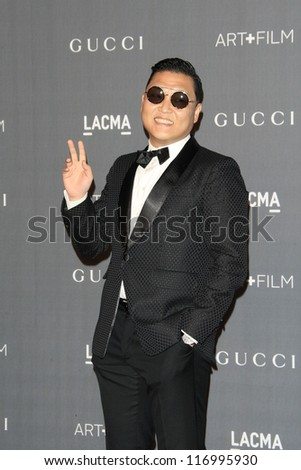 LOS ANGELES, CA - OCT 27: Psy at the LACMA 2012 Art + Film Gala at LACMA on October 27, 2012 in Los Angeles, California - stock photo