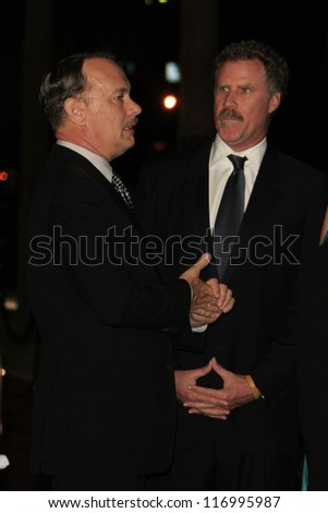 LOS ANGELES, CA - OCT 27: Tom Hanks, Will Ferrell at the LACMA 2012 Art + Film Gala at LACMA on October 27, 2012 in Los Angeles, California