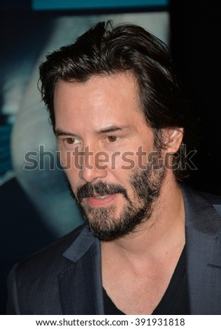 "LOS ANGELES, CA - OCTOBER 7, 2015: Actor Keanu Reeves at the Los Angeles premiere of his movie ""Knock Knock"" at the TCL Chinese Theatre, Hollywood. - stock photo"
