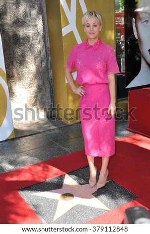 LOS ANGELES, CA - OCTOBER 29, 2014: Actress Kaley Cuoco on Hollywood Boulevard where she was honored with the 2,532nd star on the Hollywood Walk of Fame. - stock photo