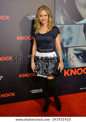 "LOS ANGELES, CA - OCTOBER 7, 2015: Actress Kelly Preston at the Los Angeles premiere of  ""Knock Knock"" at the TCL Chinese Theatre, Hollywood. - stock photo"
