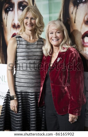 LOS ANGELES, CA - OCTOBER 06: Actress Laura Dern & her mother, Diane Ladd arrive at the premiere of HBO's 'Enlightened' at the Paramount Theater on October 6, 2011 in Los Angeles, California.