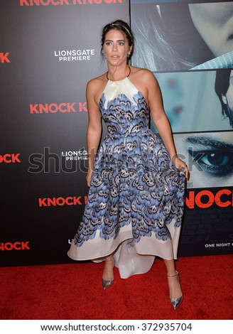 "LOS ANGELES, CA - OCTOBER 7, 2015: Actress Lorenza Izzo at the Los Angeles premiere of her movie ""Knock Knock"" at the TCL Chinese Theatre, Hollywood.