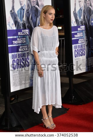 "LOS ANGELES, CA - OCTOBER 26, 2015: Actress Zoe Kazan at the Los Angeles premiere of  her movie ""Our Brand is Crisis"" at the TCL Chinese Theatre, Hollywood."