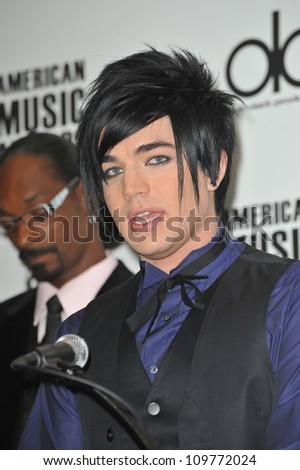 LOS ANGELES, CA - OCTOBER 13, 2009: Adam Lambert at the nominations announcement for the 2009 American Music Awards at the Beverly Hills Hotel.