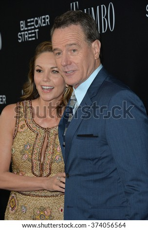 "LOS ANGELES, CA - OCTOBER 27, 2015: Bryan Cranston & Diane Lane at the US premiere of their movie ""Trumbo"" at the Academy of Motion Picture Arts & Sciences, Beverly Hills.