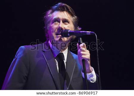 LOS ANGELES, CA - OCTOBER 15: Bryan Ferry performs in support of his Olympia release at The Greek Theater on October 15, 2011 in Los Angeles, California. - stock photo