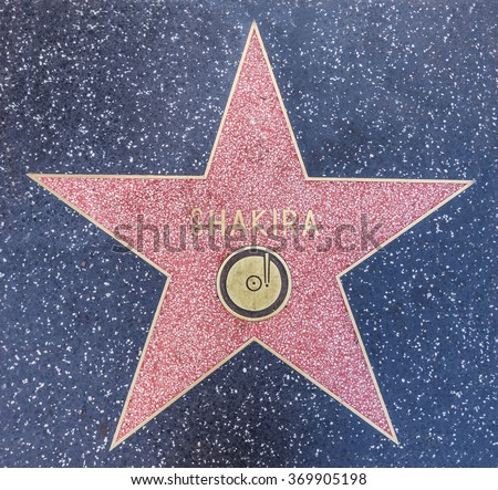 LOS ANGELES, CA - OCTOBER 12, 2015: Columbian singer Shakira's star on Hollywood Boulevard where she was honored with the 2,454th star on the Hollywood Walk of Fame - stock photo