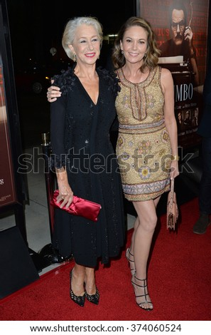 "LOS ANGELES, CA - OCTOBER 27, 2015: Dame Helen Mirren & Diane Lane (right) at the US premiere of their movie ""Trumbo"" at the Academy of Motion Picture Arts & Sciences, Beverly Hills."