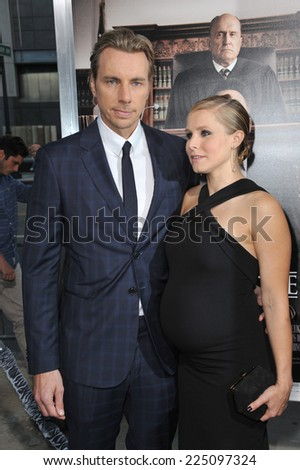 "LOS ANGELES, CA - OCTOBER 1, 2014: Dax Shepard & wife Kristen Bell at the Los Angeles premiere of his movie ""The Judge"" at the Samuel Goldwyn Theatre, Beverly Hills.  - stock photo"
