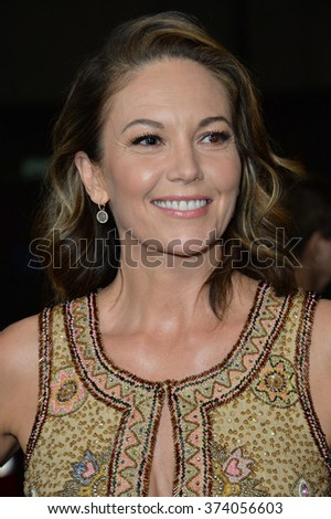 "LOS ANGELES, CA - OCTOBER 27, 2015: Diane Lane at the US premiere of her movie ""Trumbo"" at the Academy of Motion Picture Arts & Sciences, Beverly Hills."