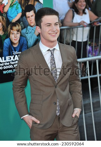 "LOS ANGELES, CA - OCTOBER 6, 2014: Dylan Minnette at the world premiere of his movie ""Alexander and the Terrible, Horrible, No Good, Very Bad Day"" at the El Capitan Theatre, Hollywood.  - stock photo"