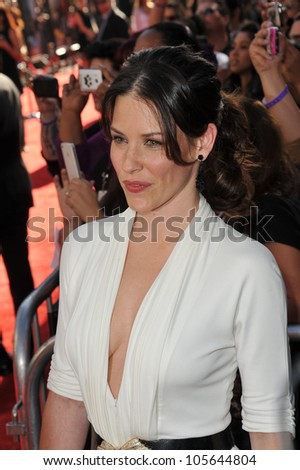 "LOS ANGELES, CA - OCTOBER 2, 2011: Evangeline Lilly at the Los Angeles premiere of her new movie ""Real Steel"" at Universal Studios Hollywood. October 2, 2011  Los Angeles, CA"