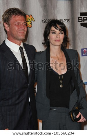 "LOS ANGELES, CA - OCTOBER 15, 2011: ""Game of Thrones"" stars Sean Bean & Lena Headey at the 2011 Spike TV Scream Awards at Universal Studios, Hollywood. October 15, 2011  Los Angeles, CA"