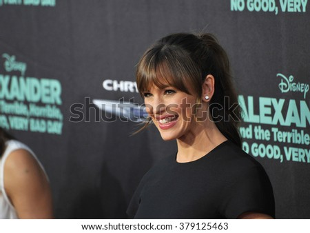 "LOS ANGELES, CA - OCTOBER 6, 2014: Jennifer Garner at the world premiere of her movie ""Alexander and the Terrible, Horrible, No Good, Very Bad Day"" at the El Capitan Theatre, Hollywood."