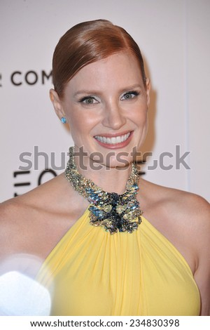 LOS ANGELES, CA - OCTOBER 21, 2014: Jessica Chastain at the 28th Annual American Cinematheque Award Gala honoring Matthew McConaughey at the Beverly Hilton Hotel.  - stock photo