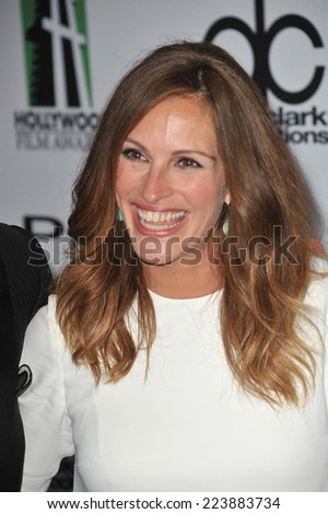 LOS ANGELES, CA - OCTOBER 13, 2013: Julia Roberts at the 17th Annual Hollywood Film Awards at the Beverly Hilton Hotel.  - stock photo