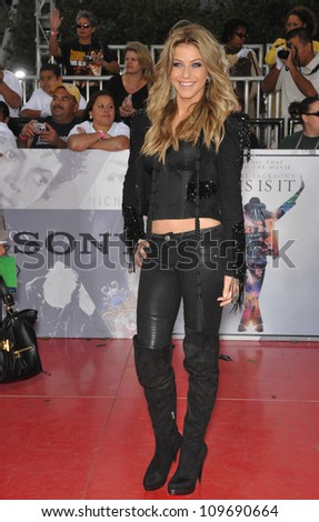 "LOS ANGELES, CA - OCTOBER 27, 2009: Julianne Hough at the premiere of Michael Jackson's ""This Is It"" at the Nokia Theatre, L.A. Live. - stock photo"