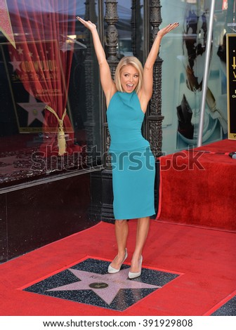 LOS ANGELES, CA - OCTOBER 12, 2015: Kelly Ripa on Hollywood Boulevard where she was honored with the 2,561st star on the Hollywood Walk of Fame. - stock photo