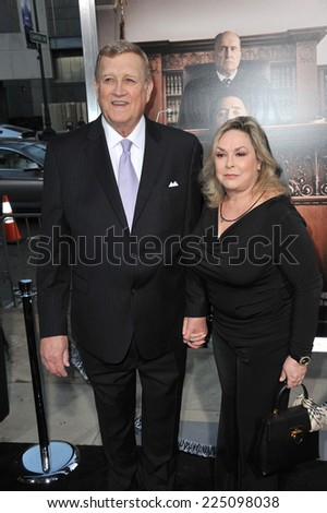 "LOS ANGELES, CA - OCTOBER 1, 2014: Ken Howard & wife Linda at the Los Angeles premiere of his movie ""The Judge"" at the Samuel Goldwyn Theatre, Beverly Hills.  - stock photo"