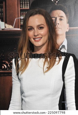 """LOS ANGELES, CA - OCTOBER 1, 2014: Leighton Meester at the Los Angeles premiere of her movie """"The Judge"""" at the Samuel Goldwyn Theatre, Beverly Hills.  - stock photo"""
