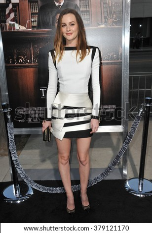 "LOS ANGELES, CA - OCTOBER 1, 2014: Leighton Meester at the Los Angeles premiere of her movie ""The Judge"" at the Samuel Goldwyn Theatre, Beverly Hills. - stock photo"
