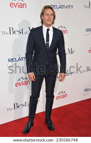 "LOS ANGELES, CA - OCTOBER 7, 2014: Luke Bracey at the world premiere of his movie ""The Best of Me"" at the Regal Cinemas LA Live.  - stock photo"