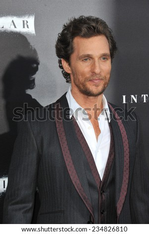 LOS ANGELES, CA - OCTOBER 26, 2014: Matthew McConaughey at the Los Angeles premiere of his movie Interstellar at the TCL Chinese Theatre, Hollywood.  - stock photo