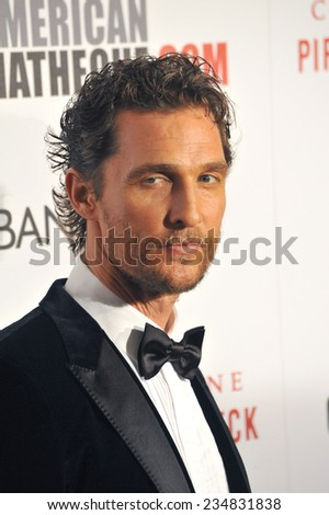 LOS ANGELES, CA - OCTOBER 21, 2014: Matthew McConaughey at the 28th Annual American Cinematheque Award Gala honoring Matthew McConaughey at the Beverly Hilton Hotel.  - stock photo
