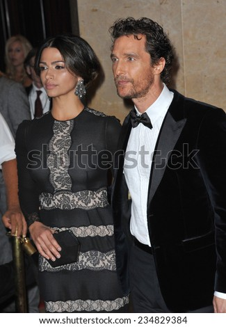 LOS ANGELES, CA - OCTOBER 21, 2014: Matthew McConaughey & wife Camila Alves at the 28th Annual American Cinematheque Award Gala honoring Matthew McConaughey at the Beverly Hilton Hotel.  - stock photo
