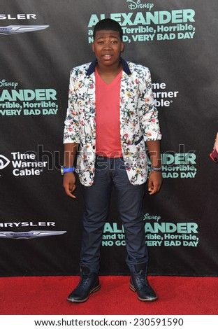 "LOS ANGELES, CA - OCTOBER 6, 2014: Mekhi Matthew Curtis at the world premiere of his movie ""Alexander and the Terrible, Horrible, No Good, Very Bad Day"" at the El Capitan Theatre, Hollywood.  - stock photo"