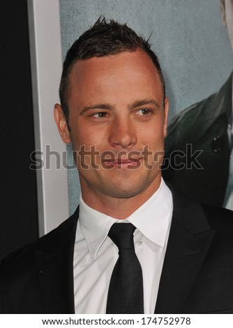 "LOS ANGELES, CA - OCTOBER 15, 2012: Olympic & Paralympic athlete Oscar Pistorius at the Los Angeles premiere of ""Alex Cross"" at the Cinerama Dome, Hollywood."