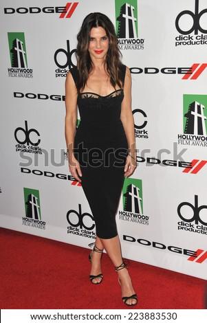 LOS ANGELES, CA - OCTOBER 13, 2013: Sandra Bullock at the 17th Annual Hollywood Film Awards at the Beverly Hilton Hotel.  - stock photo